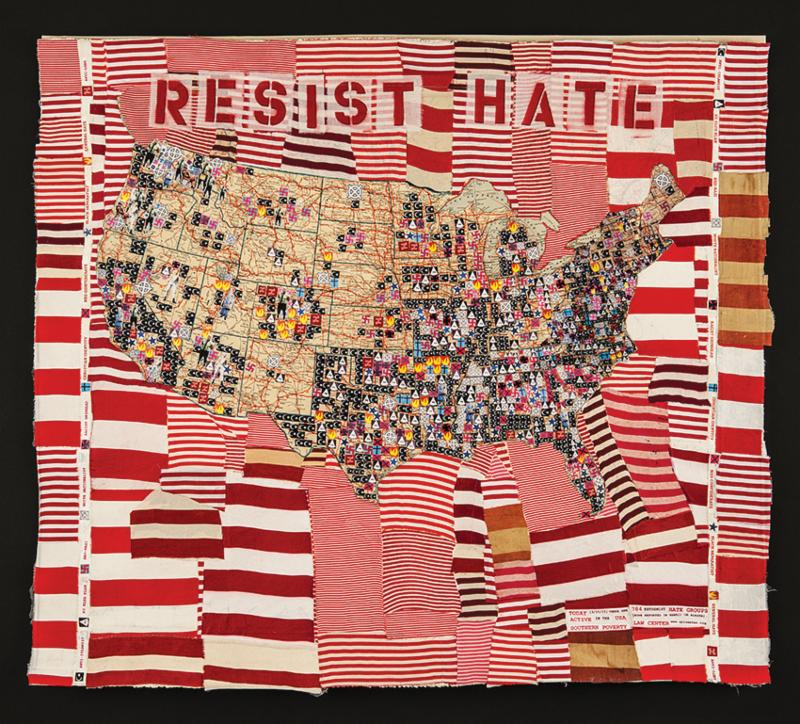 In The Collage Resist Hate Deborah Faye Lawrence Creates Icons For Ten Types Of Hate Groups In The Us Expanding On A Map From The Southern Poverty Law